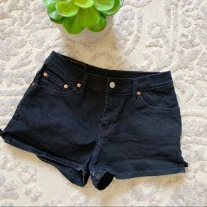 Levi's black denim jean shorts